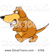 Stock Cartoon of a Mad Pet Brown Dog Mascot Cartoon Character with an Angry Grumpy Expression by Toons4Biz