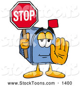 Stock Cartoon of a Mailbox Character Holding a Stop Sign by Toons4Biz