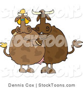 Stock Cartoon of a Male and Female Cows by Dennis Cox