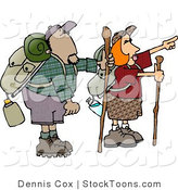 Stock Cartoon of a Male and Female Hikers Hiking by Djart