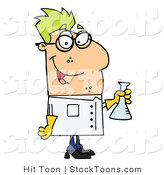 Stock Cartoon of a Male Caucasian Scientist by Hit Toon