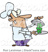 Stock Cartoon of a Male Chef Serving a Dollar Sign on a Platter by Ron Leishman