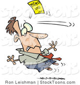 Stock Cartoon of a Man Being Attacked by a Yellow Memo Paper by Ron Leishman