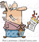 Stock Cartoon of a Man Burning His Mortgage Papers by Ron Leishman