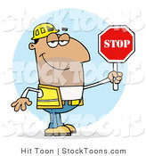 Stock Cartoon of a Man Holding a Stop Sign by Hit Toon