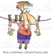 Stock Cartoon of a Man Hung out on a Clothes Line to Dry by Ron Leishman
