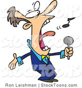 Stock Cartoon of a Man in a Blue Suit Singing by Toonaday