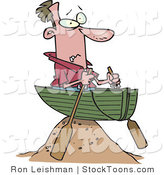 Stock Cartoon of a Man Left High and Dry in a Boat by Toonaday