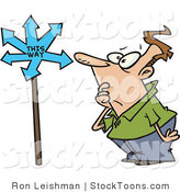 Stock Cartoon of a Man Looking at a Sign by Ron Leishman