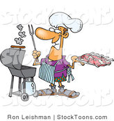 Stock Cartoon of a Man Preparing to Barbeque Ribs by Toonaday