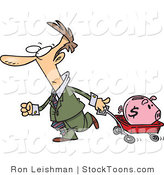 Stock Cartoon of a Man Pulling a Piggy Bank in a Wagon by Toonaday