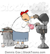 Stock Cartoon of a Man Putting a Hamburger on a Barbecue by Djart