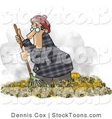 Stock Cartoon of a Man Raking Leaves in Autumn by Djart
