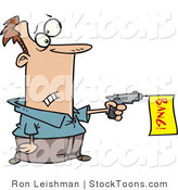 Stock Cartoon of a Man Shooting a Dud Gun by Toonaday