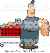 Stock Cartoon of a Man Shopping by Dennis Cox