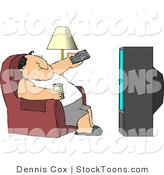 Stock Cartoon of a Man Sitting on a Couch, Watching TV Drinking Beer by Dennis Cox