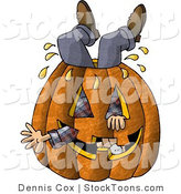 Stock Cartoon of a Man Stuck Inside a Halloween Pumpkin by Djart