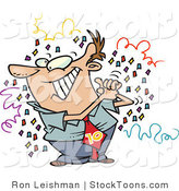 Stock Cartoon of a Man Surrounded by Confetti by Ron Leishman