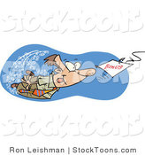 Stock Cartoon of a Man Swimming After a Hooked Bonus by Toonaday