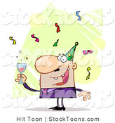 Stock Cartoon of a Man Toasting by Hit Toon