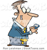 Stock Cartoon of a Man Using a BlackBerry Wireless Handheld Device by Toonaday