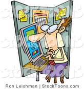 Stock Cartoon of a Man Using a Computer in Cramped Cubicle by Ron Leishman