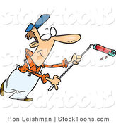 Stock Cartoon of a Man Using a Long Paint Roller by Toonaday