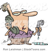 Stock Cartoon of a Man with a Leaky Pipe, Calling a Plumber by Ron Leishman