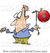 Stock Cartoon of a Man with a Watch and a Bell by Toonaday