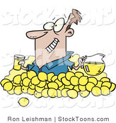 Stock Cartoon of a Man with Lemons by Toonaday