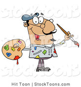 Stock Cartoon of a Messy Hispanic Artist Painter by Hit Toon