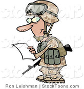 Stock Cartoon of a Military Soldier in a Camouflage Uniform Reading a Letter by Toonaday