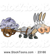 Stock Cartoon of a Mules Pulling a Wagon Full of Boulders by Ron Leishman