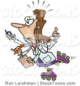 Stock Cartoon of a Multi Tasking Female Doctor by Ron Leishman