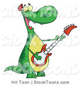 Stock Cartoon of a Musical Green Dinosaur by Hit Toon