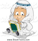 Stock Cartoon of a Muslim Baby Sitting with the Koran by BNP Design Studio