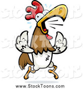 Stock Cartoon of a Noisy Rooster Running and Crowing by Cory Thoman