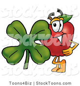 Stock Cartoon of a Nurtirious Red Apple Character Mascot with a Green Four Leaf Shamrock on St Paddy's or St Patricks Day by Toons4Biz