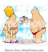 Stock Cartoon of a Obese Husband and Wife by Dennis Cox