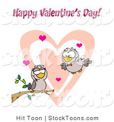 Stock Cartoon of a Pair of Romantic Turtle Doves by Hit Toon