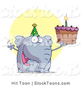 Stock Cartoon of a Party Animal, an Elephant, Wearing a Green Party Hat by Hit Toon