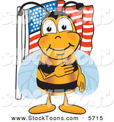 Stock Cartoon of a Patriotic Bee Mascot Cartoon Character Giving the Pledge of Allegiance near an American Flag by Toons4Biz