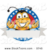 Stock Cartoon of a Patriotic Bee Mascot Cartoon Character with Stars on a Blank Label by Toons4Biz
