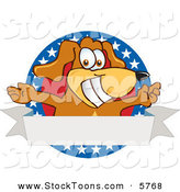 Stock Cartoon of a Patriotic Happy Brown Dog Mascot Cartoon Character with Open Arms with a Blank Label by Toons4Biz
