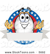 Stock Cartoon of a Patriotic White Blimp Mascot Cartoon Character Logo with Stars and a Blank Ribbon by Toons4Biz