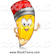 Stock Cartoon of a Pencil Character Giving a Thumb up by BNP Design Studio