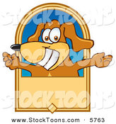 Stock Cartoon of a Pet Brown Dog Mascot Cartoon Character with Open Arms on a Banner by Toons4Biz