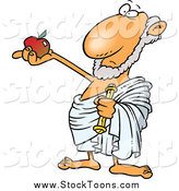 Stock Cartoon of a Philosopher Holding out an Apple by Toonaday