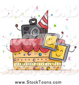 Stock Cartoon of a Photography Birthday Cake with Photos and a Camera by BNP Design Studio