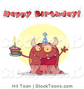Stock Cartoon of a Pink Birthday Monster by Hit Toon